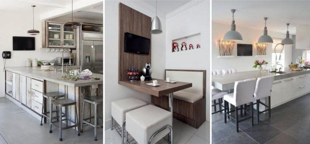 кухня с диваном и телевизором
