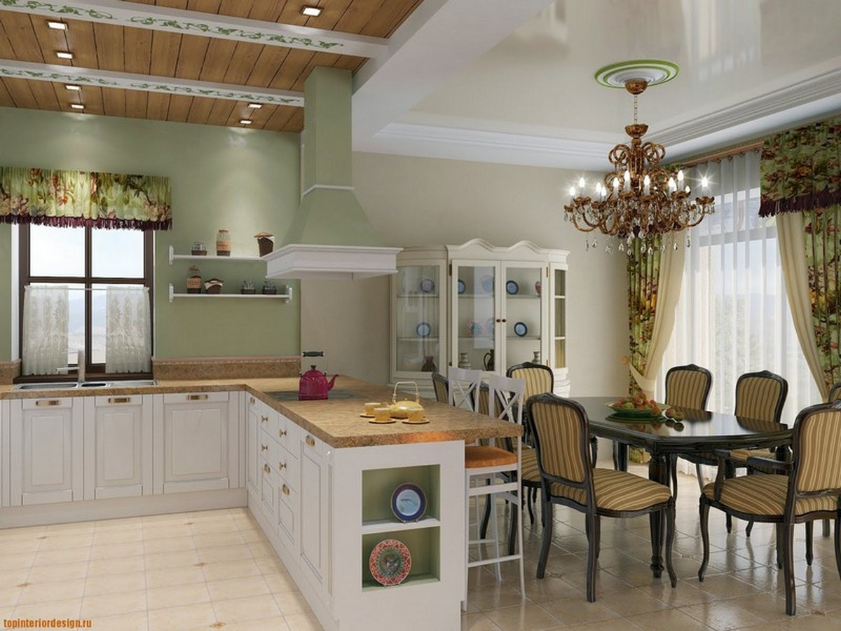 кухня совмещённая частного дома
