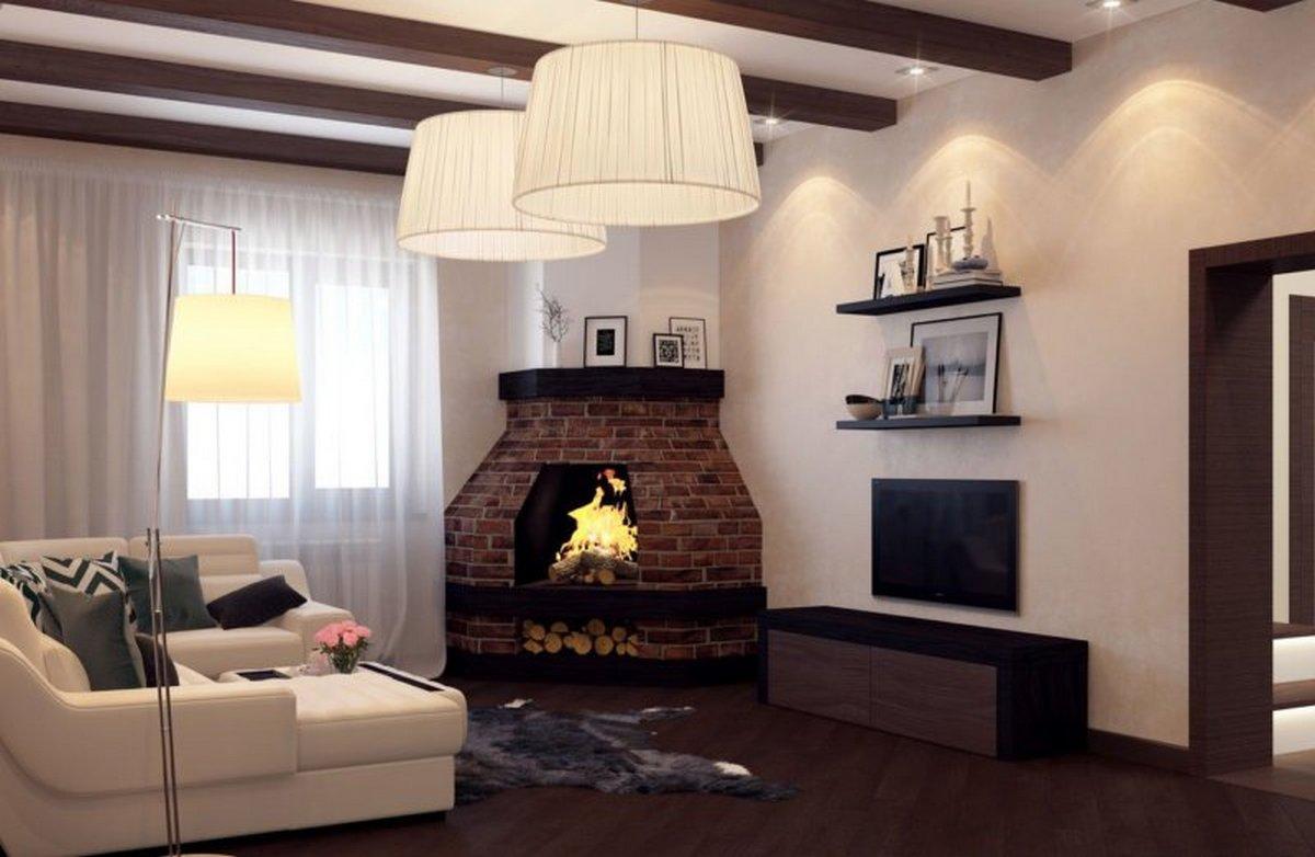 маленький зал в частном доме дизайн фото пример