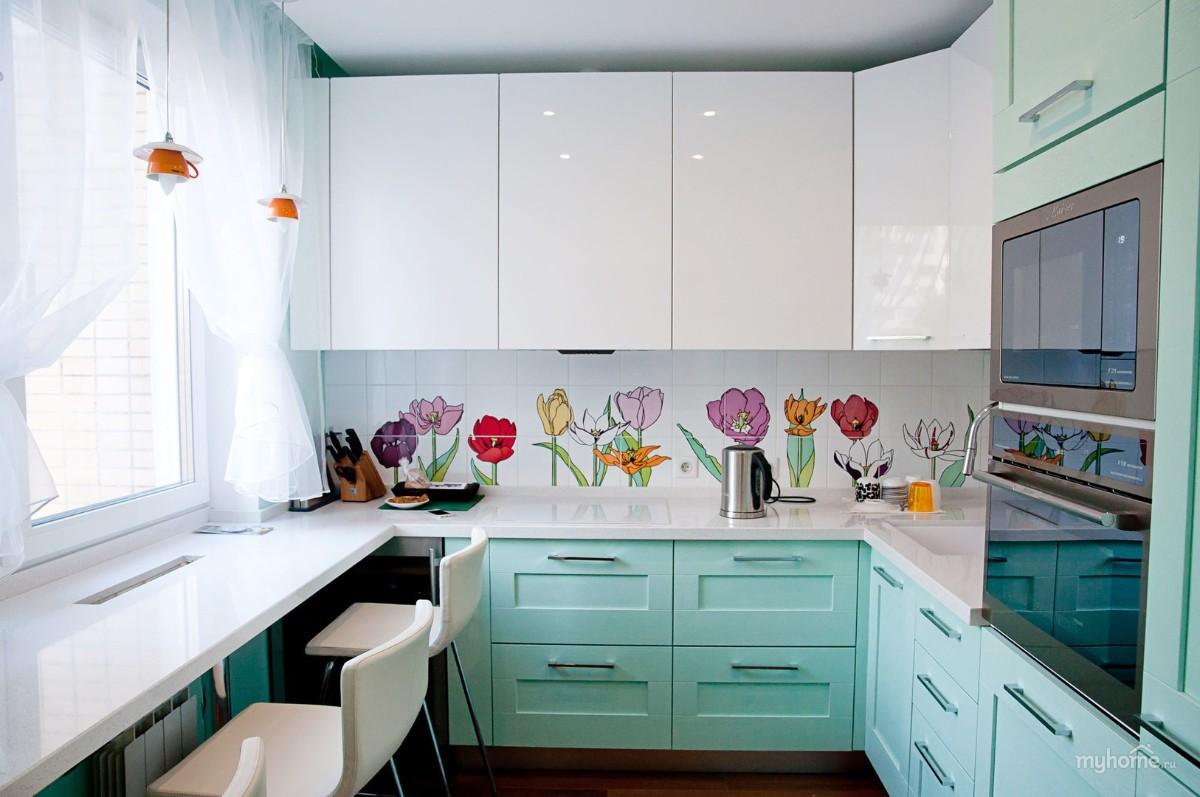 нарядный дизайн малогабаритной кухни