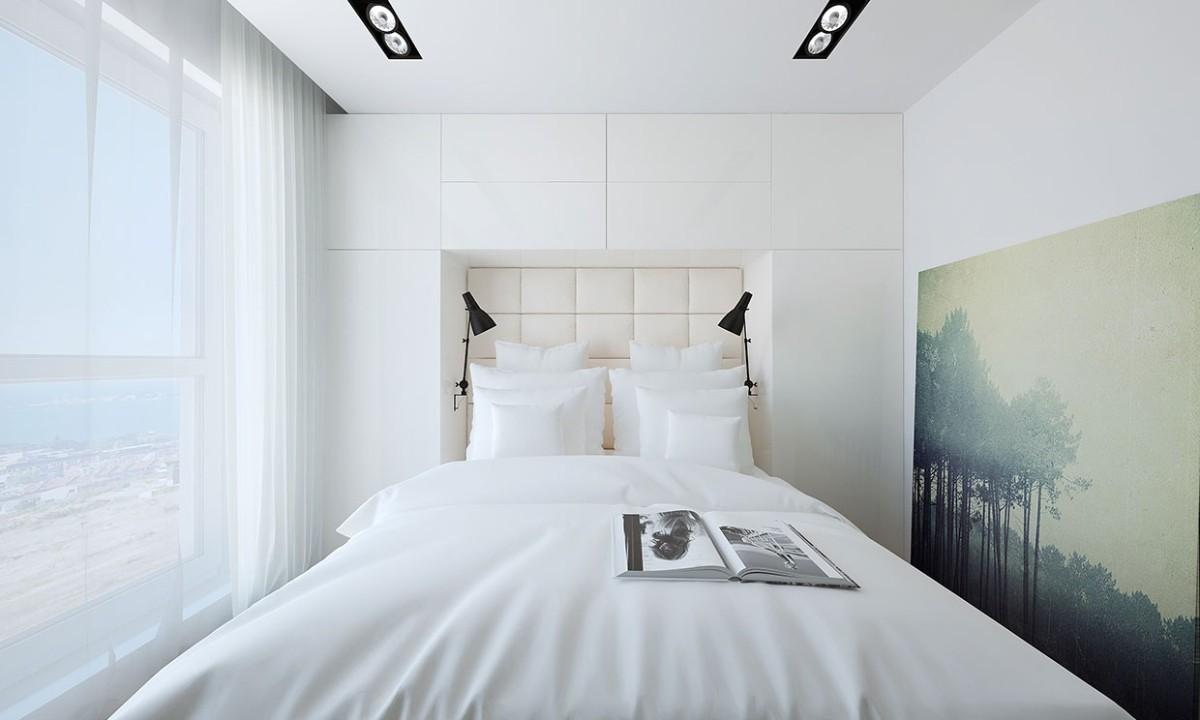 небольшая современная спальня в белом цвете