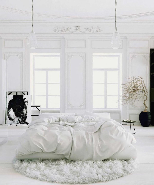 роскошная спальня в белом цвете классический дизайн