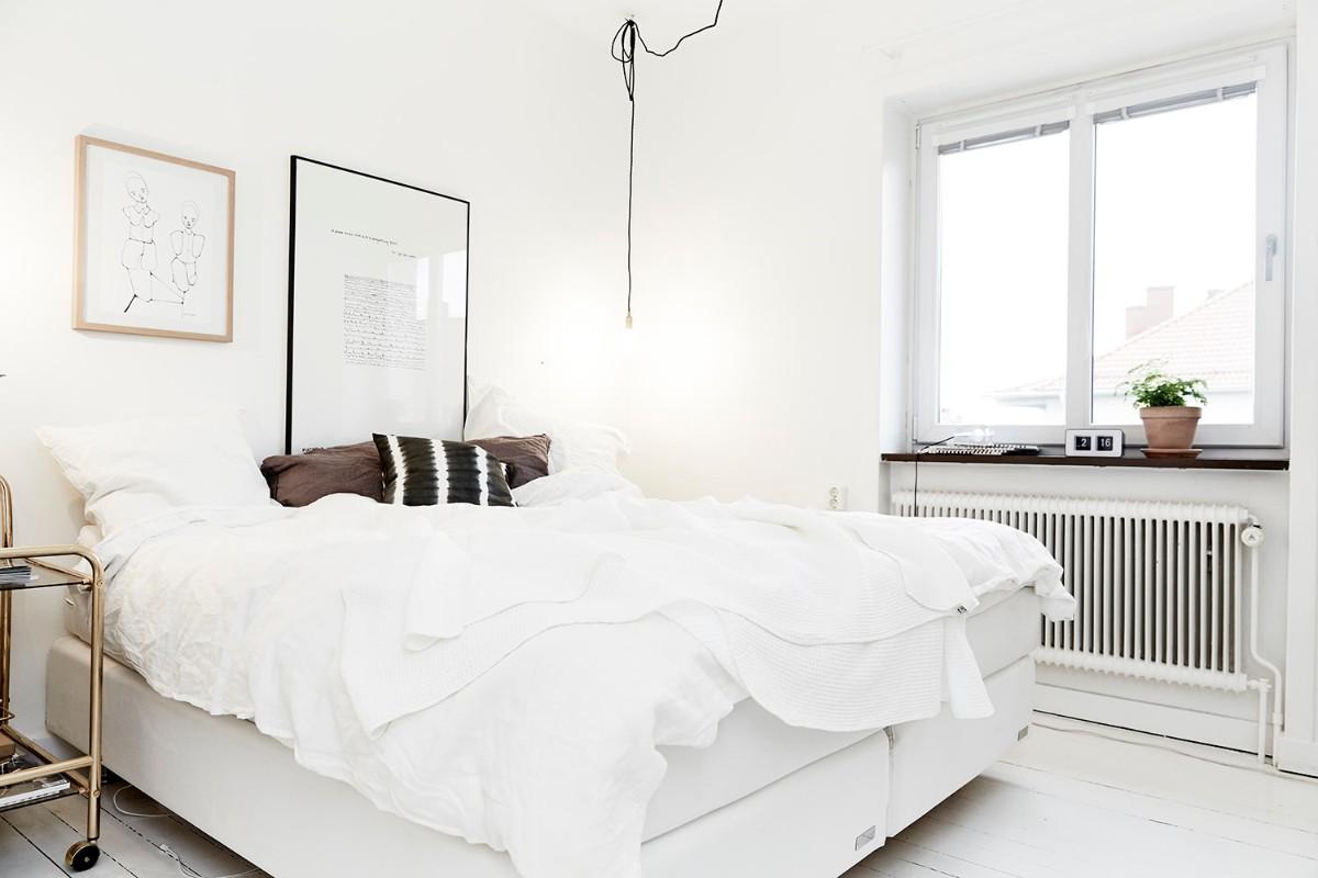 скандинавская спальня в белом цвете