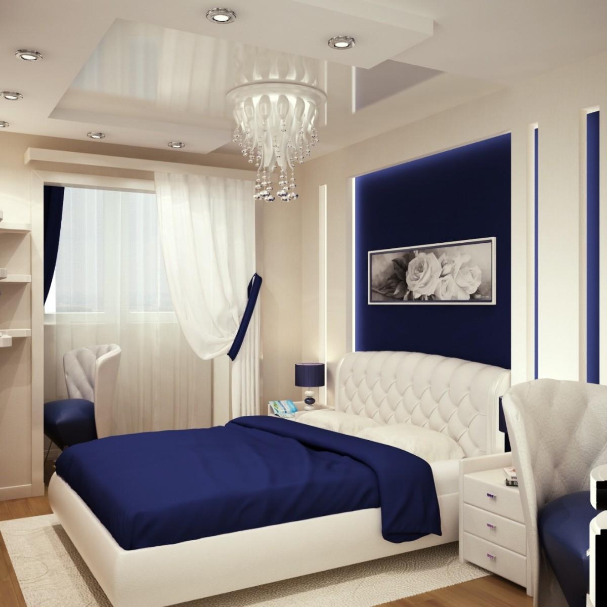 современная бело-синяя спальня