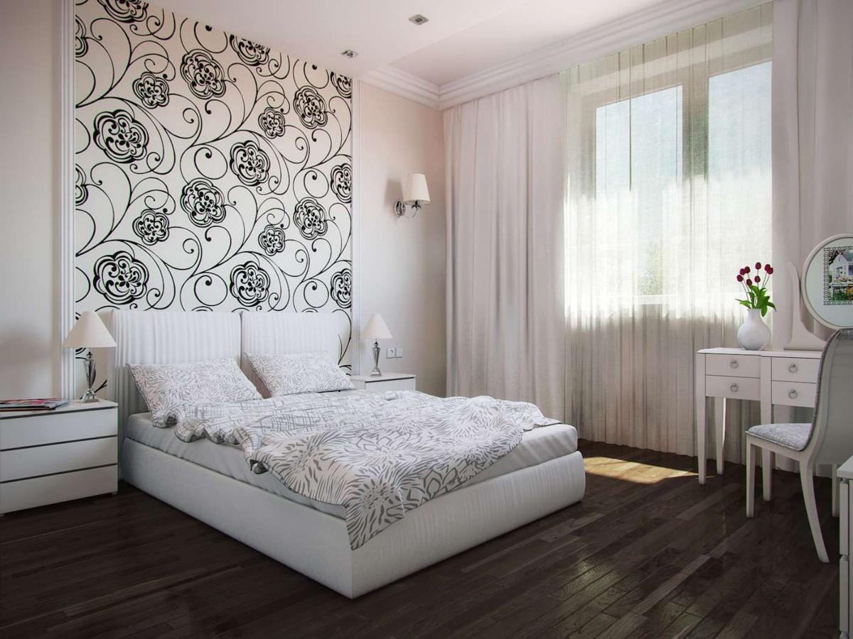 современная спальня в белом цвете интерьер