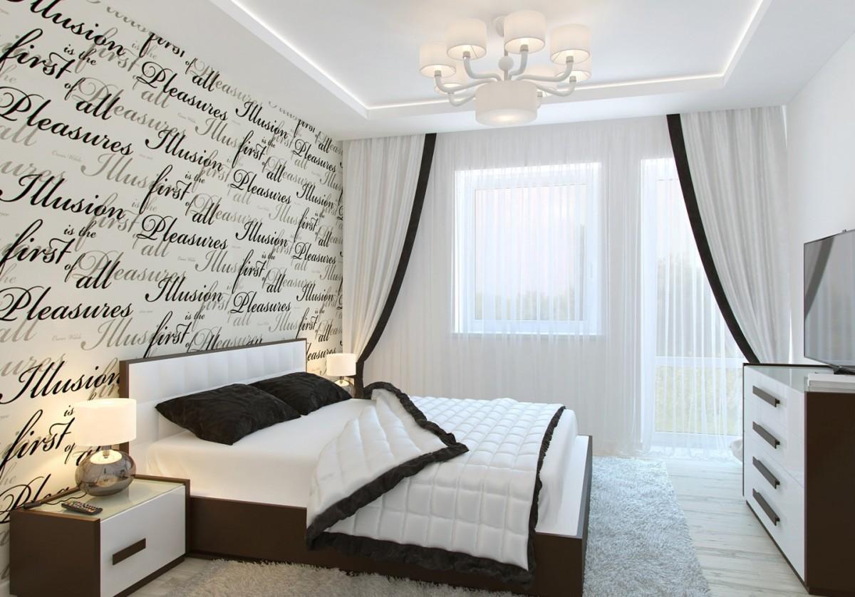 современная спальня в белом цвете с шоколадными акцентами