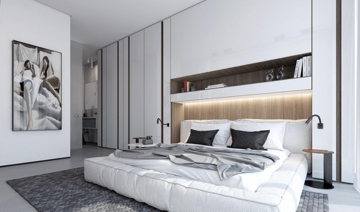 современная спальня в белом цвете