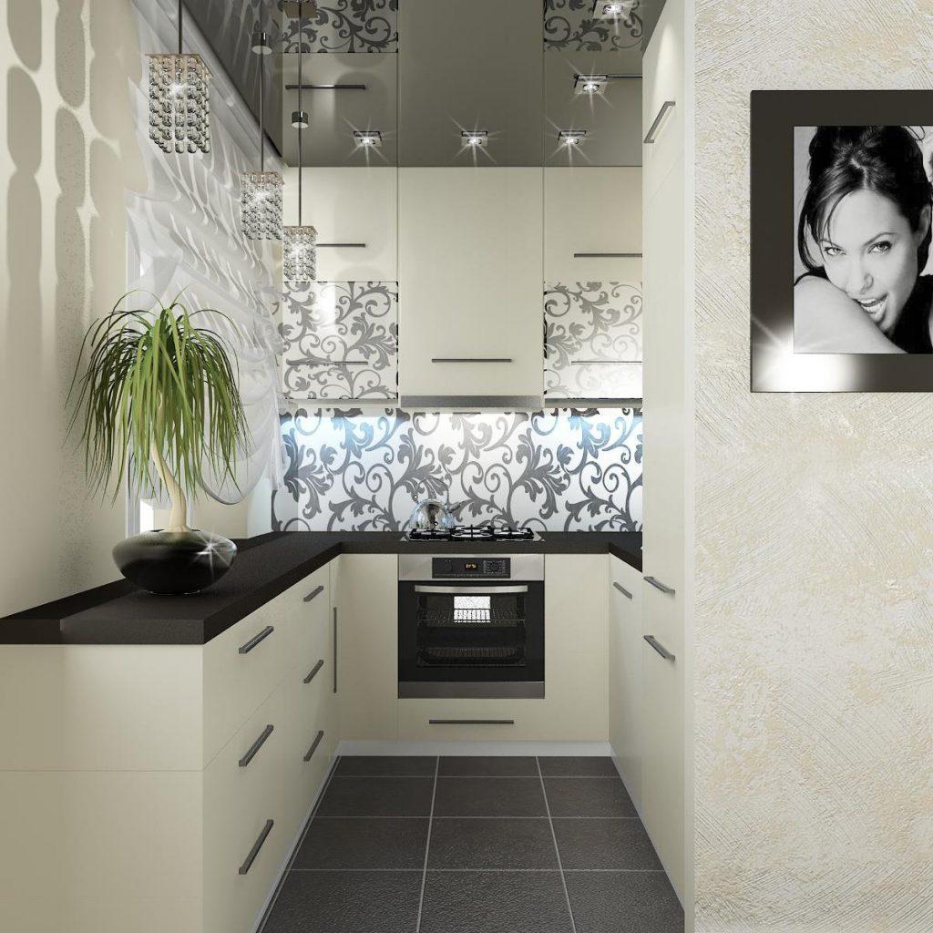 современный дизайн малогабаритной кухни в молочно-чёрном цвете