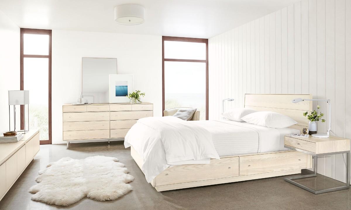 спальня сочетание белого цвета с деревом