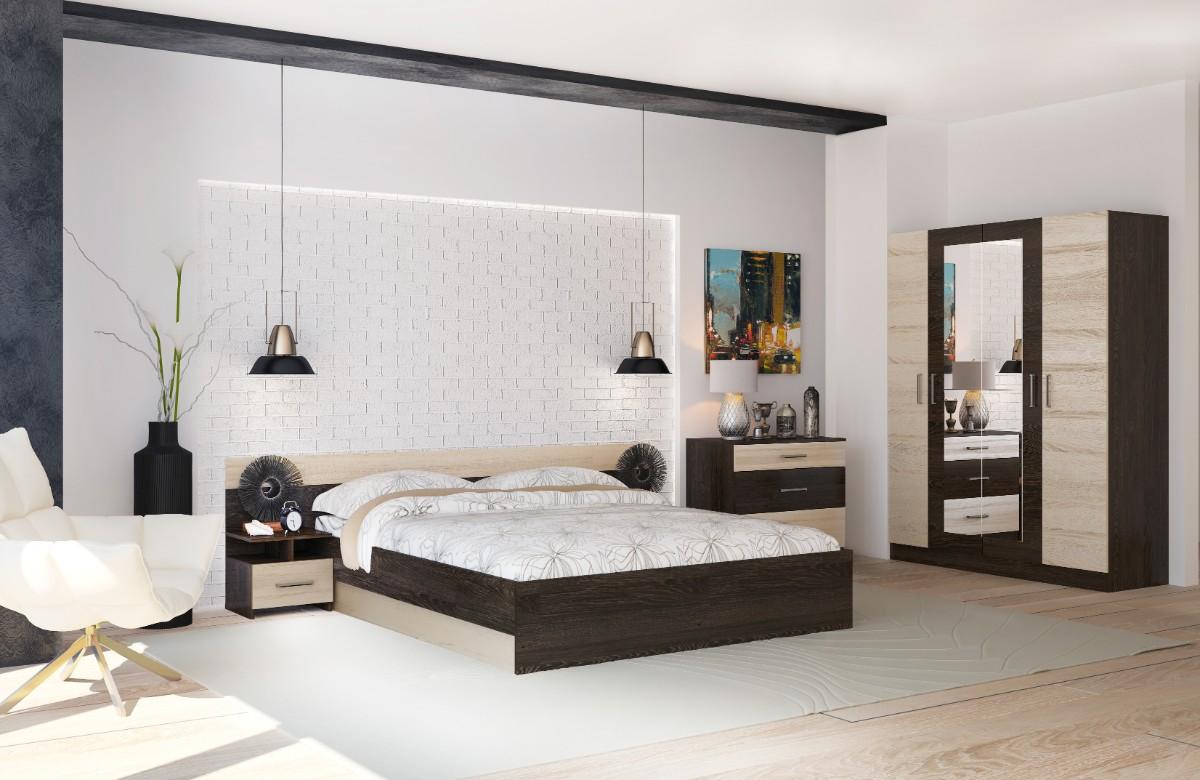 спальня в белом цвете гарнитур коричневого оттенка