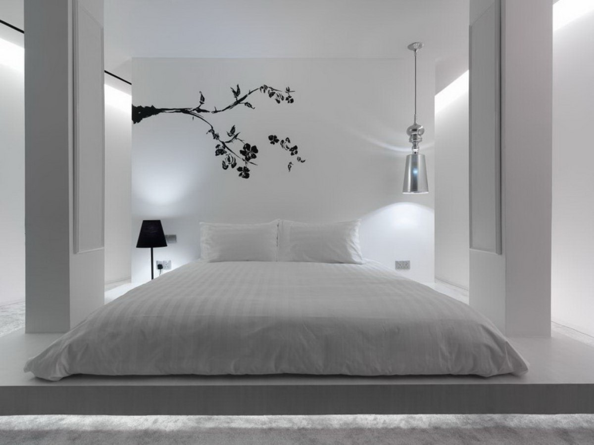 спальня в белом цвете хай тек