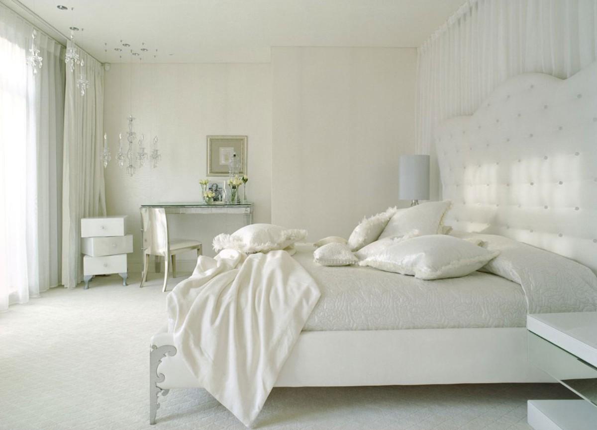 спальня в белом цвете классический дизайн