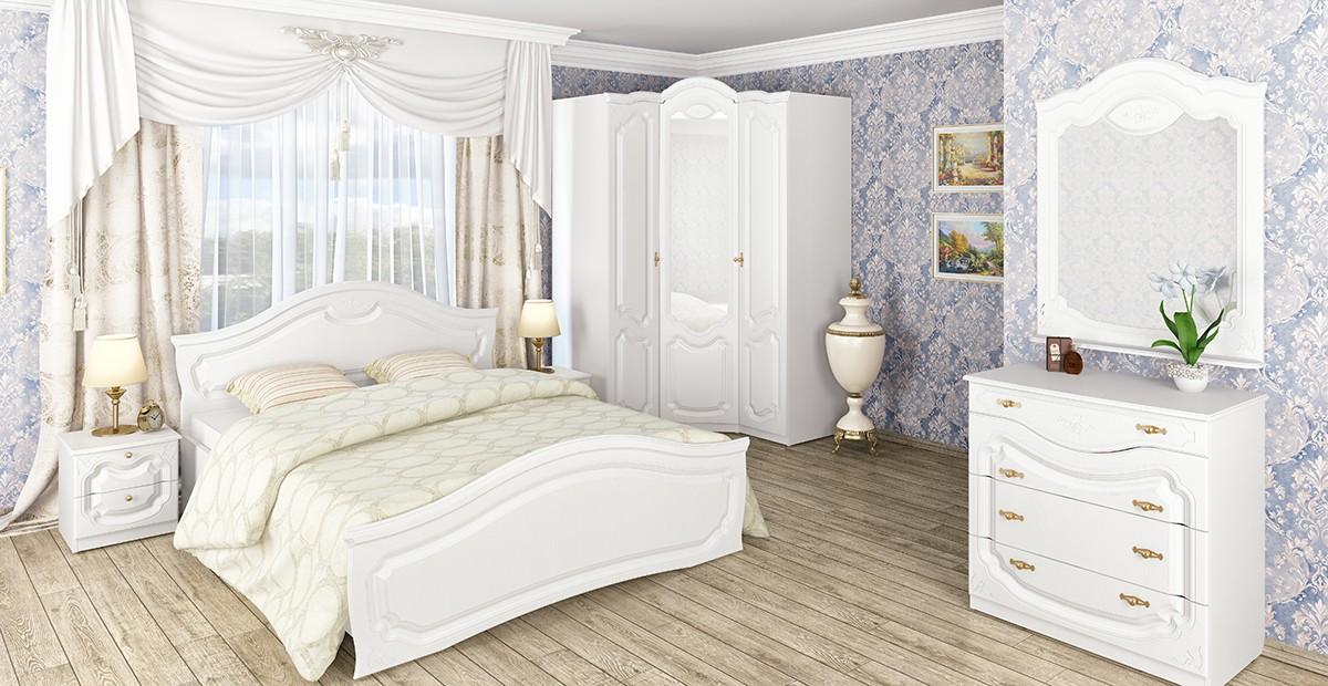 спальня в белом цвете классический интерьер