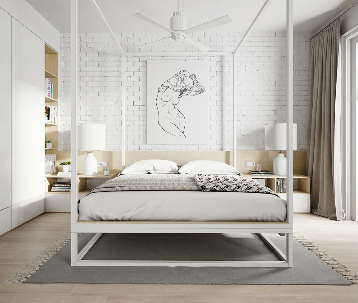спальня в белом цвете кровать со стойками