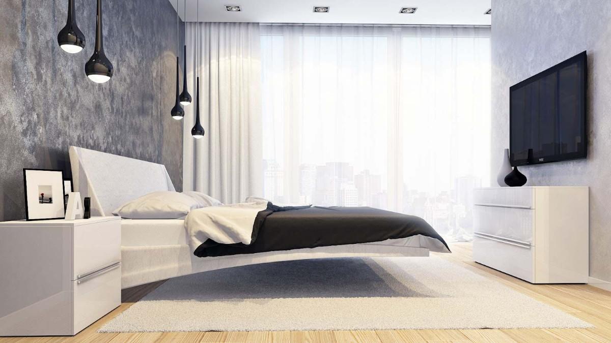 спальня в белом цвете минималистический дизайн