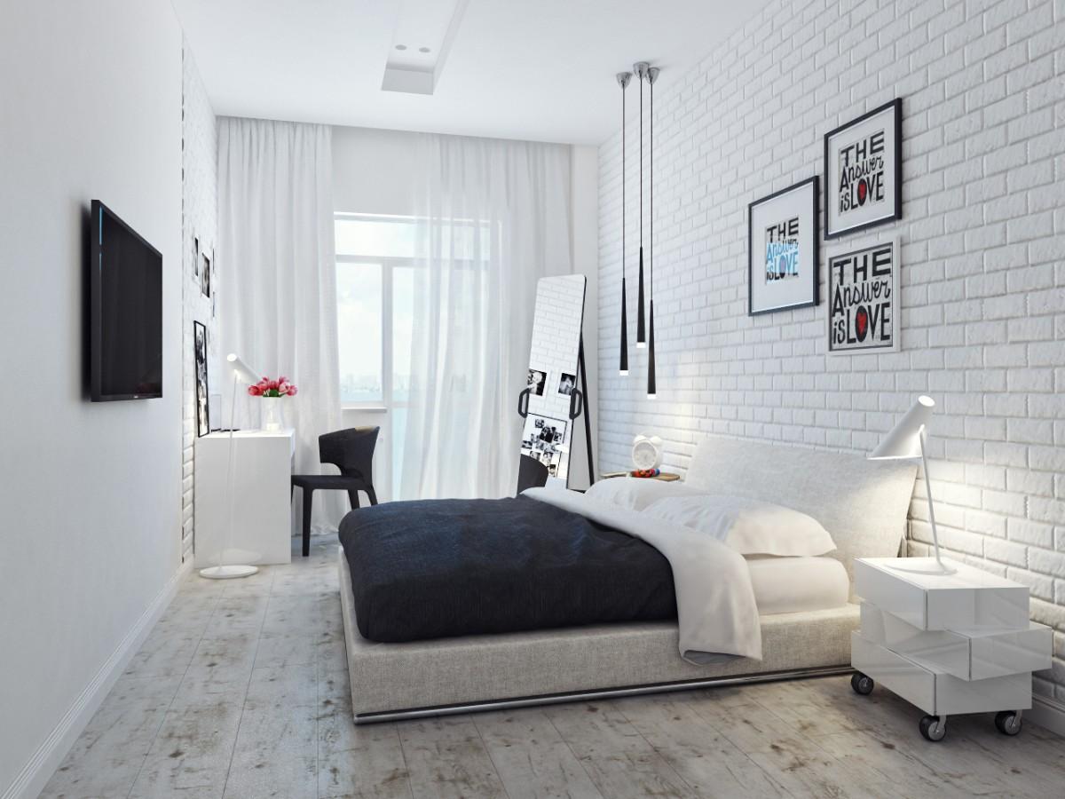 спальня в белом цвете с кирпичной стеной