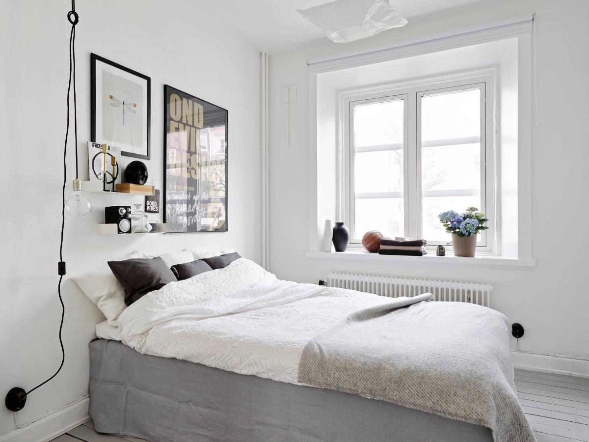 спальня в белом цвете скандинавский стиль