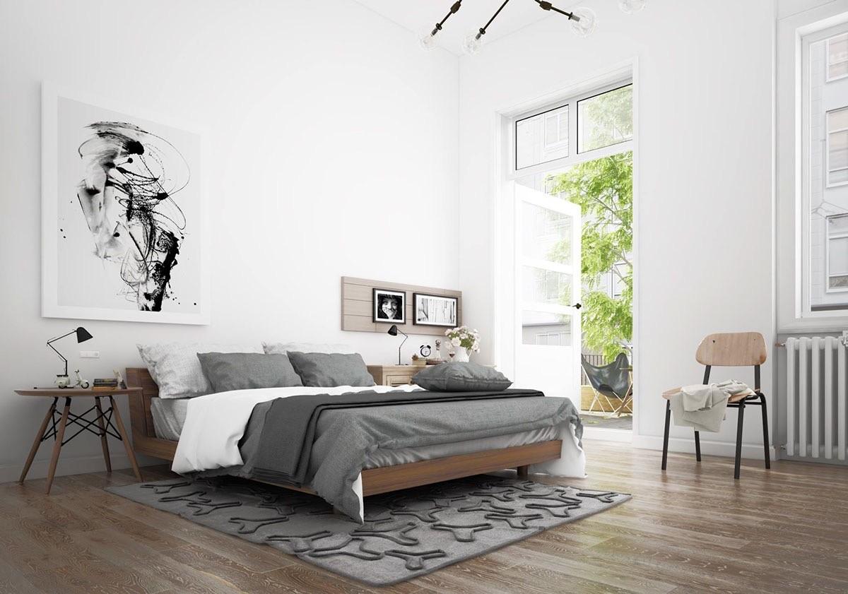 спальня в серо-белом цвете скандинавский стиль