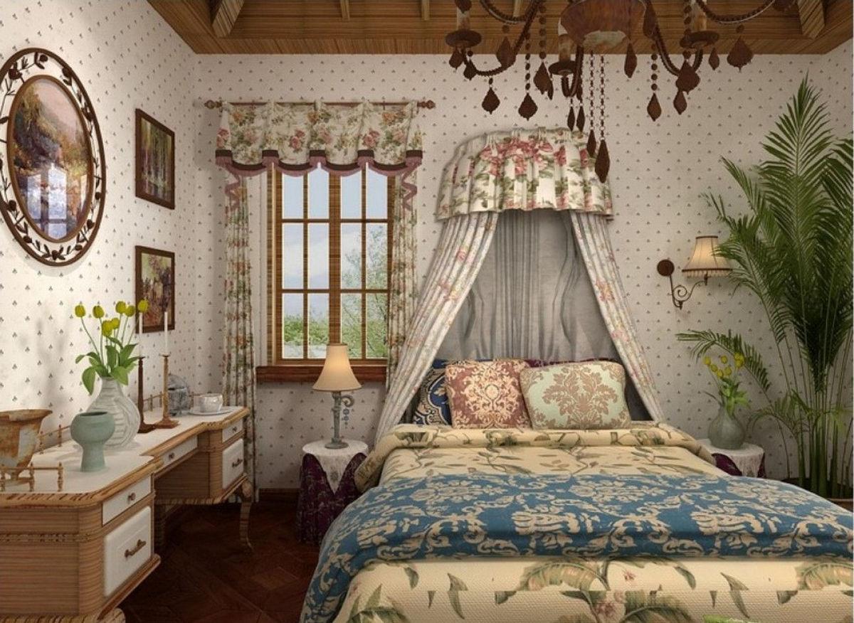 стиль кантри в интерьере квартиры спальня с балдахином