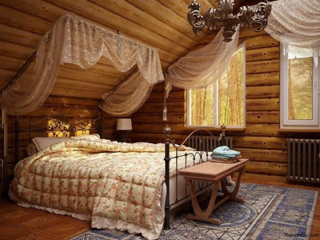 стиль кантри в интерьере квартиры в спальне
