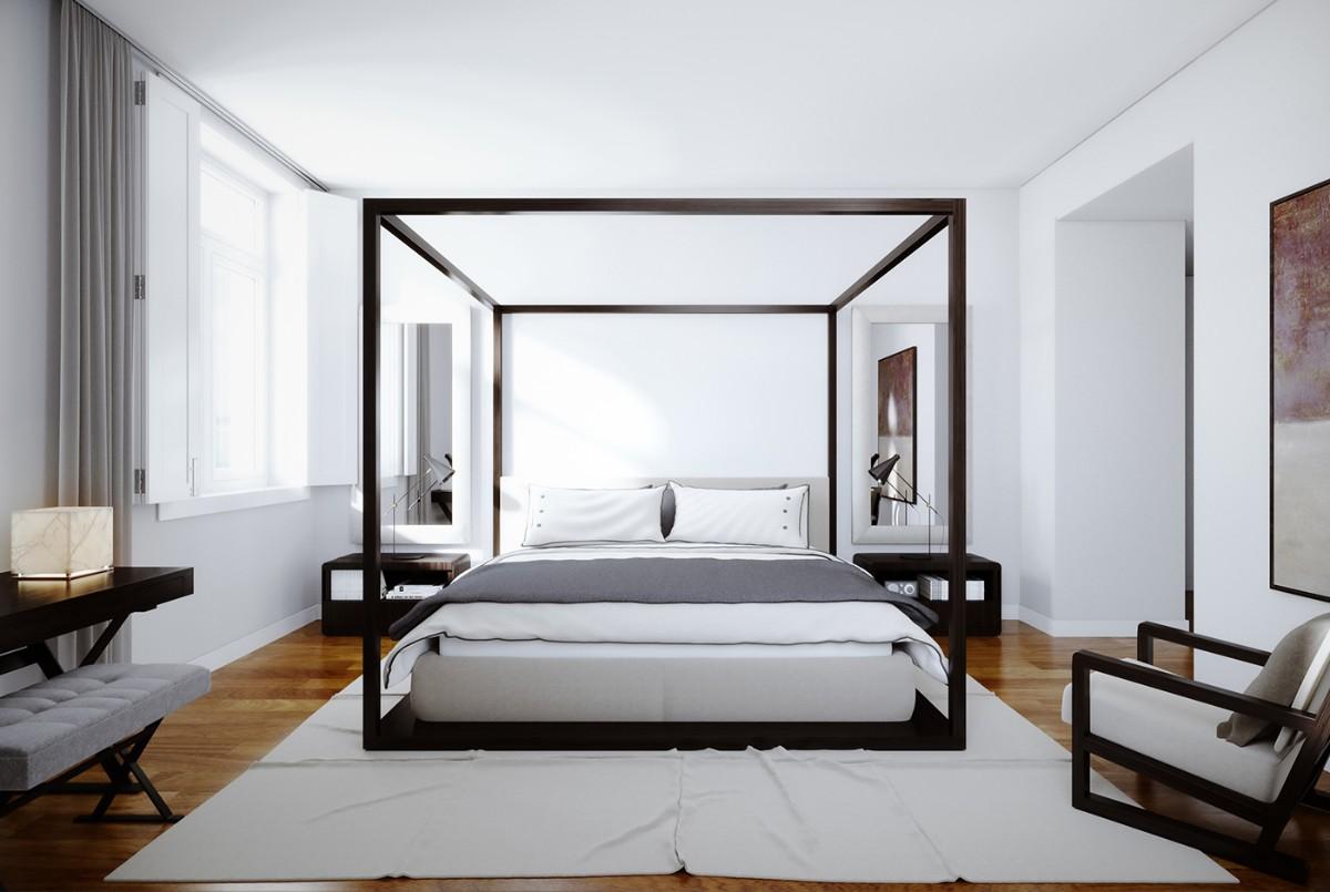 стильная спальня в белом цвете