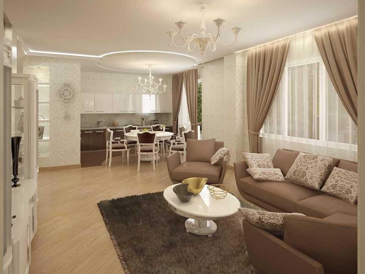вариант яркого дизайна зала в частном доме