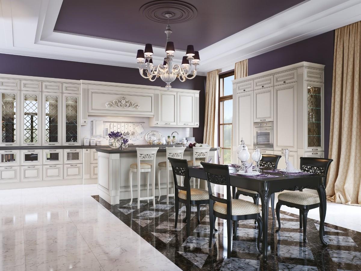 белая кухня в классическом стиле потолок фиолетового цвета