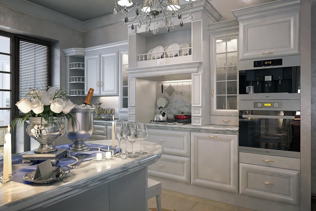 белая кухня в классическом стиле с хрустальной люстрой
