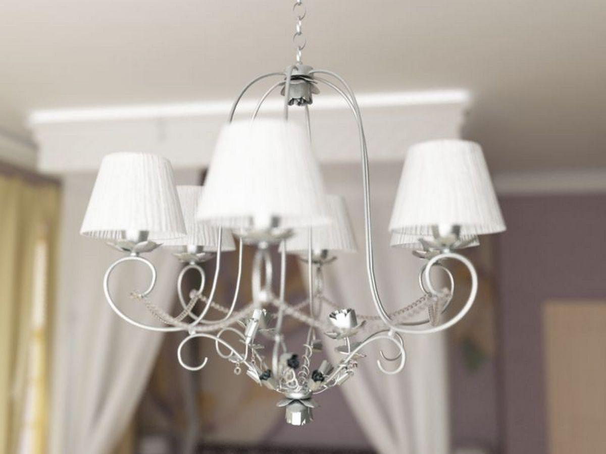 белая люстра для спальни в классическом стиле