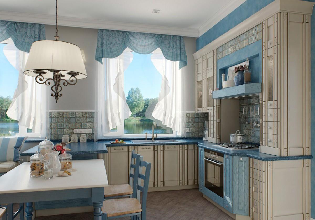 бело-голубая кухня в классическом стиле