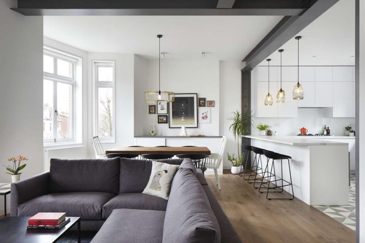 бело-серый дизайн кухни гостиной в частном доме