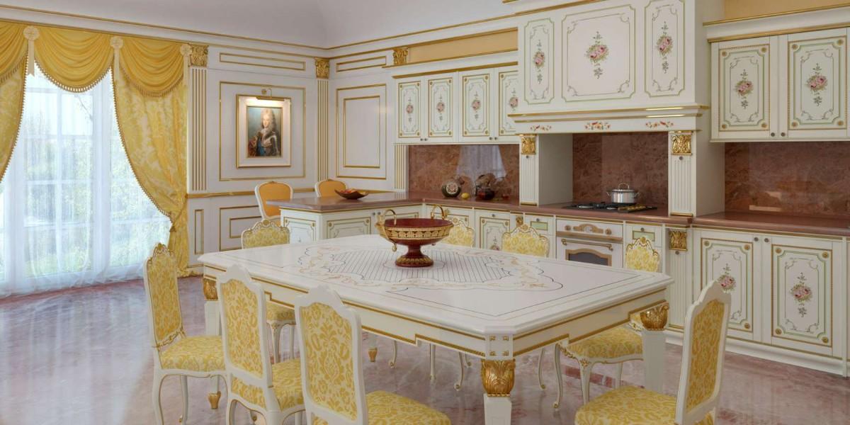 бело-золотая кухня в классическом стиле