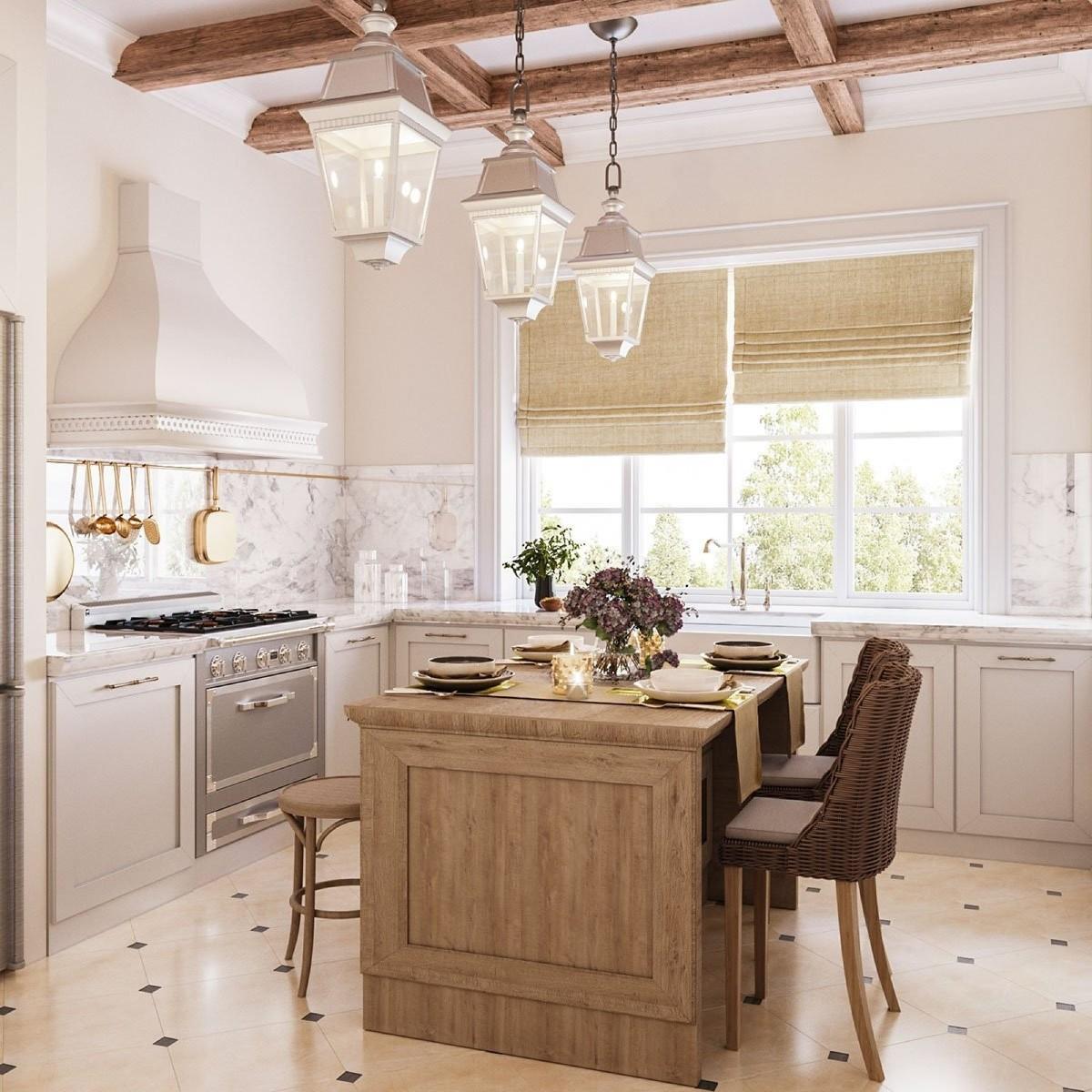 бежевая кухня с коричневыми балками в классическом стиле