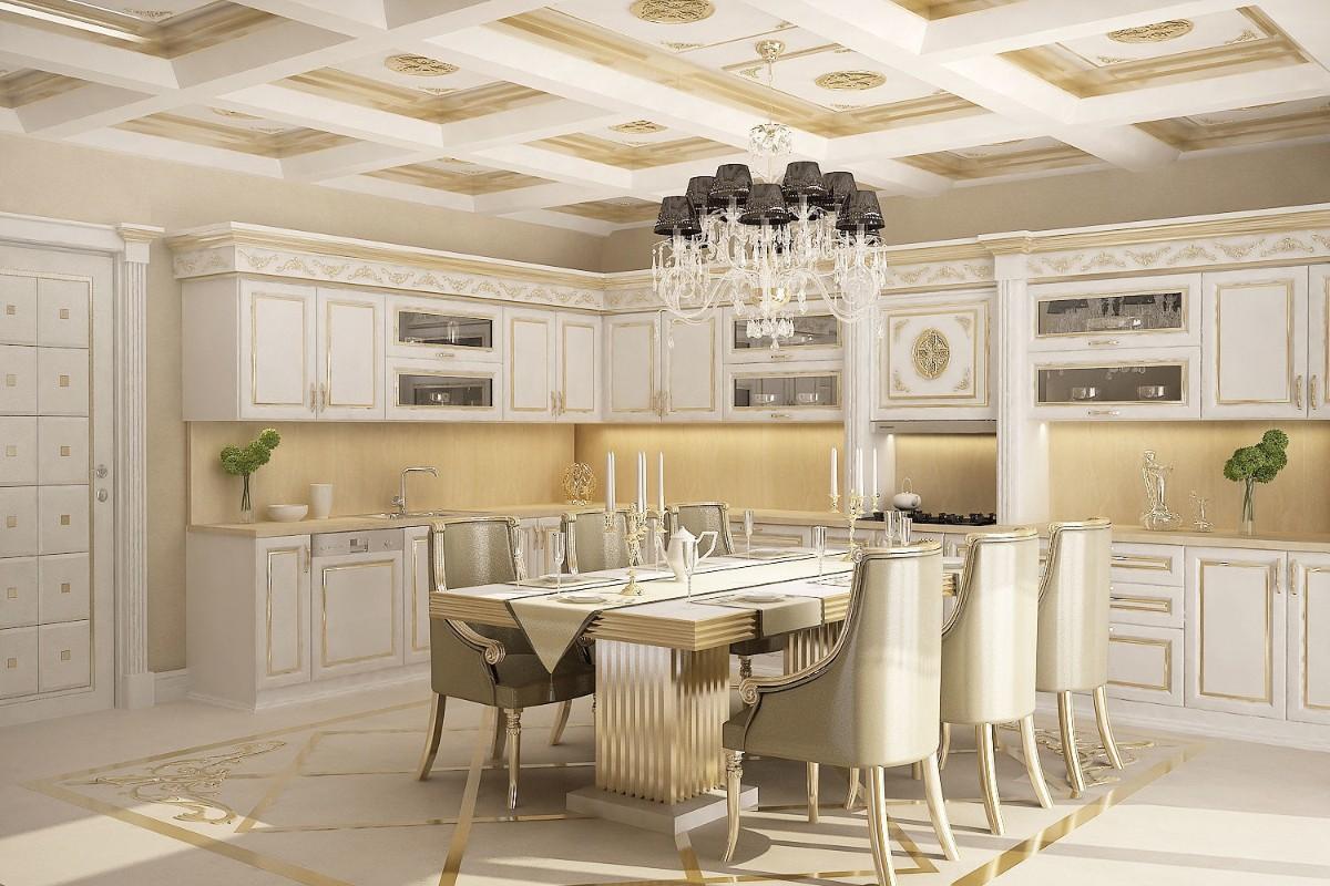 бежевая кухня в классическом стиле с кесонным потолком
