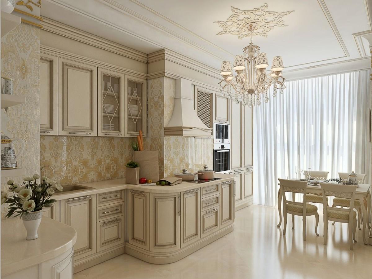 бежевая кухня в классическом стиле с обеденным столом