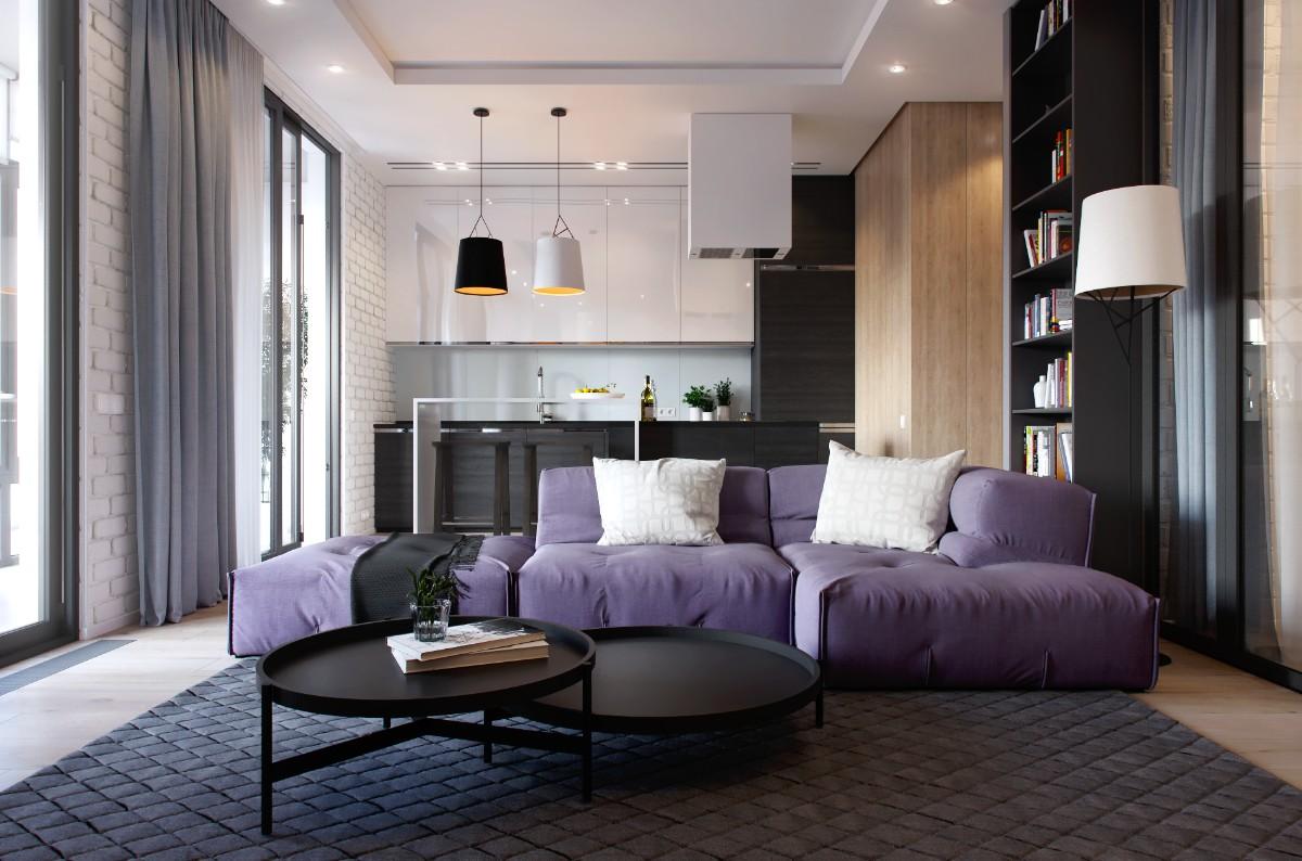 дизайн кухни гостиной частный дом лиловый диван