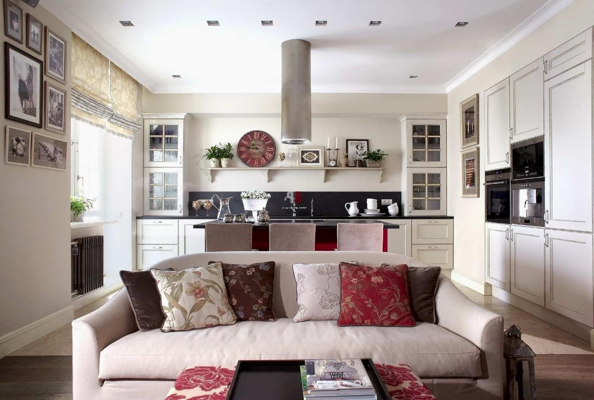 дизайн кухни гостиной в частном доме фото пример