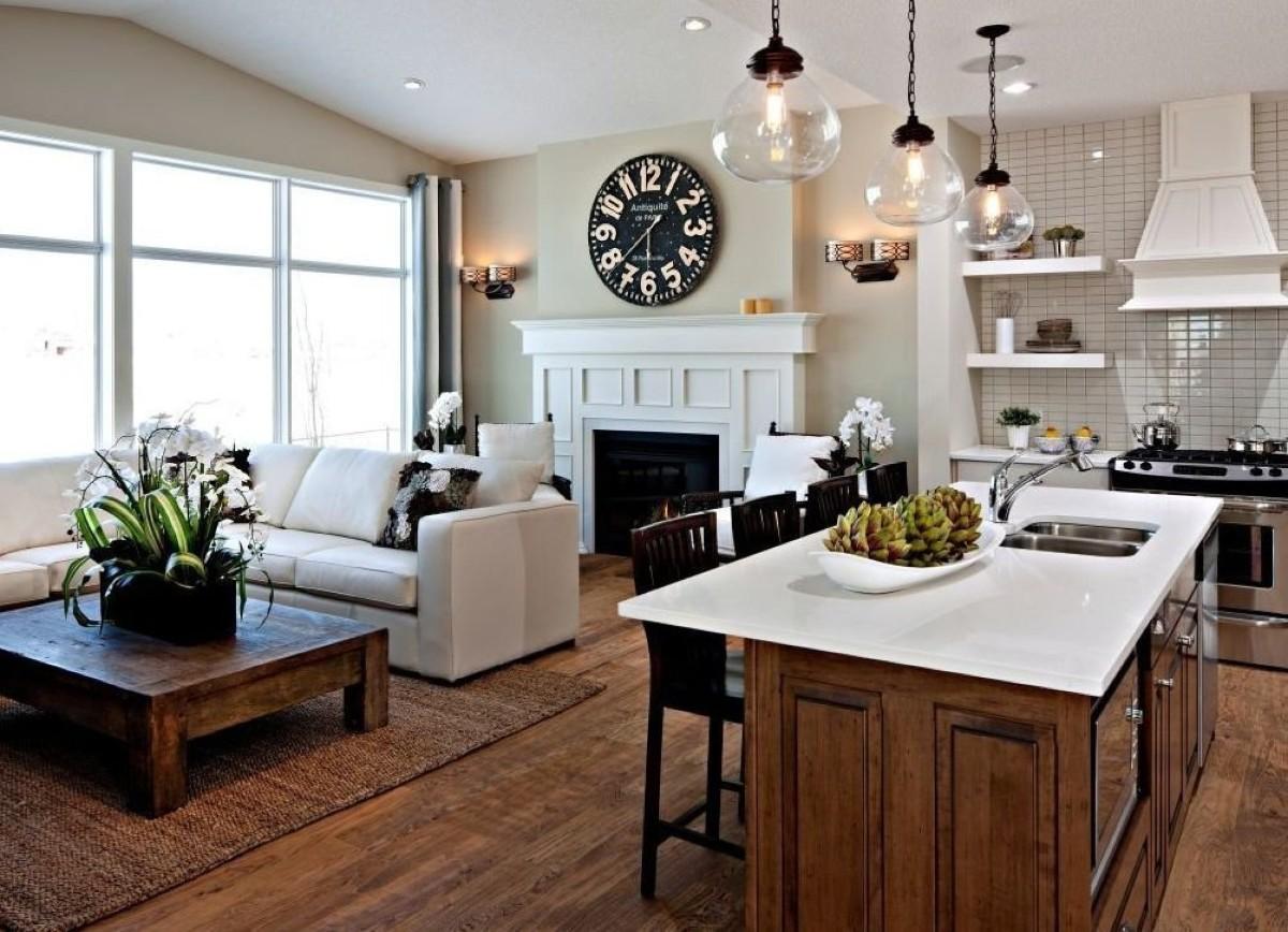 дизайн кухни гостиной в частном доме оригинальные светильники