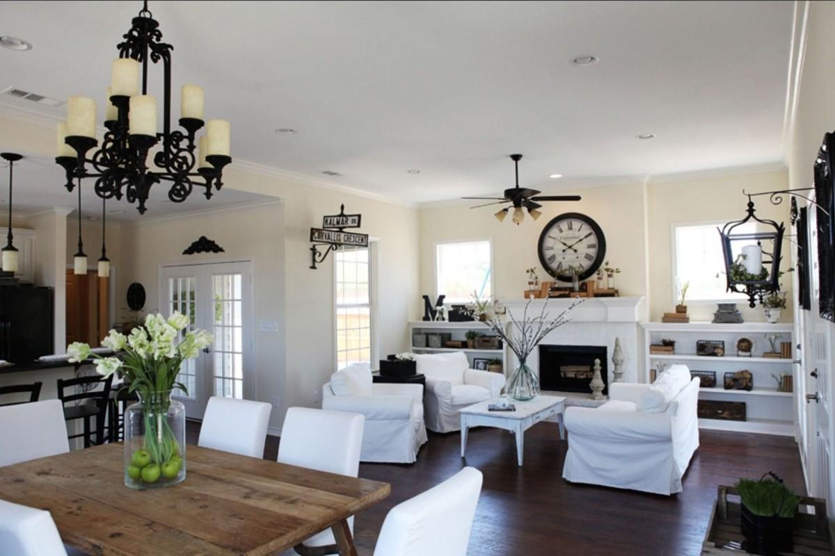 дизайн кухни гостиной в частном доме с элементами классики