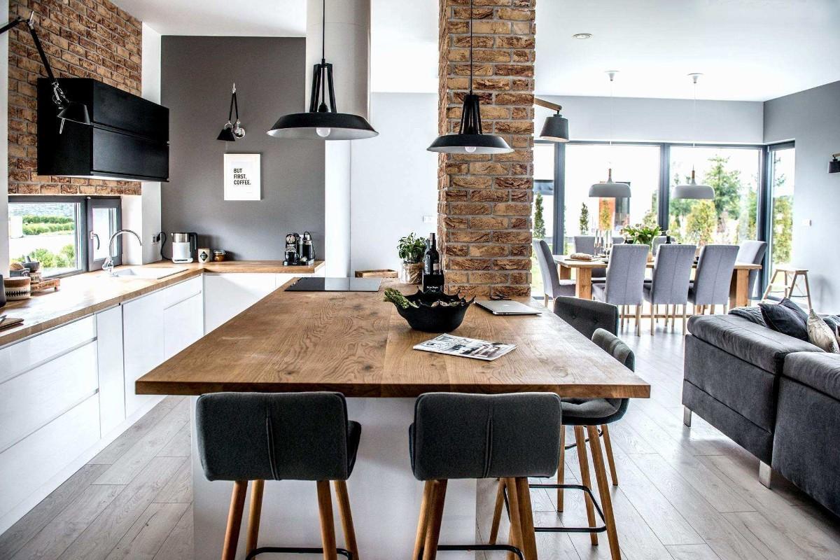 дизайн кухни гостиной в частном доме с элементами лофта