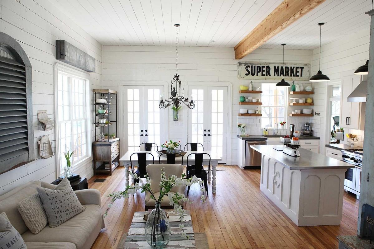 дизайн кухни гостиной в частном доме с элементами скандинавского стиля