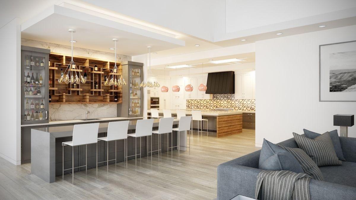 дизайн кухни гостиной в частном доме с разноплановым освещением