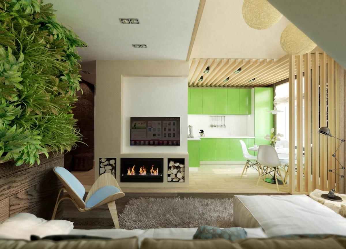 дизайн кухни гостиной в частном доме с живой зеленью