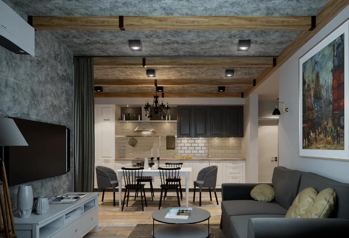 дизайн кухни гостиной в частном доме сканди-лофт