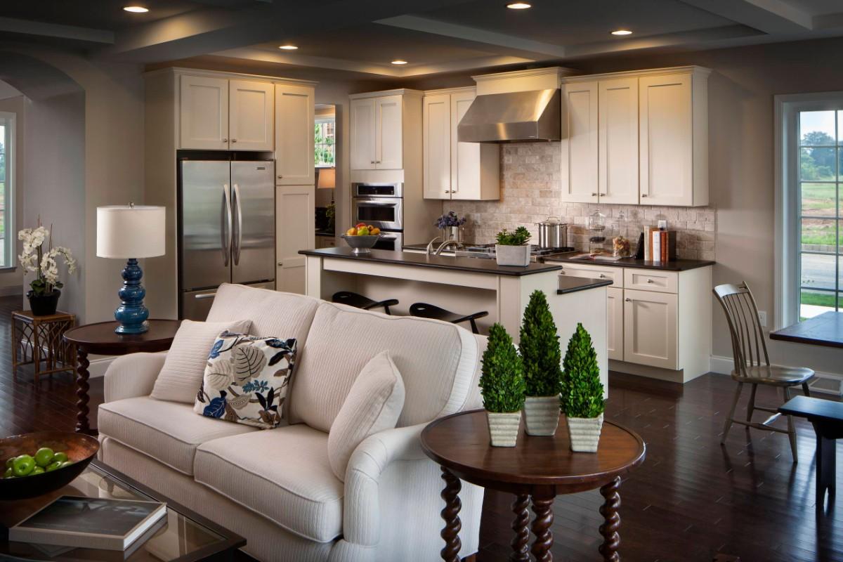 дизайн кухни гостиной в частном доме софиты на потолке
