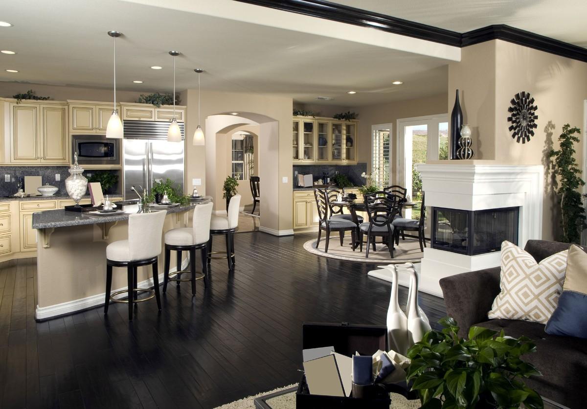 дизайн кухни гостиной в частном доме стиль арт деко