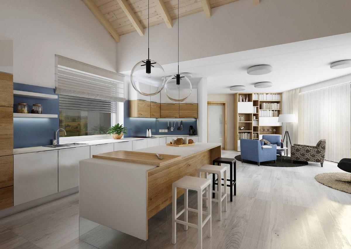 дизайн кухни гостиной в частном доме светлый пол