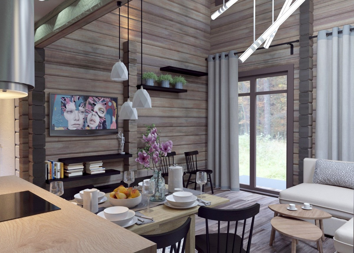 дизайн кухни гостиной в деревянном частном доме