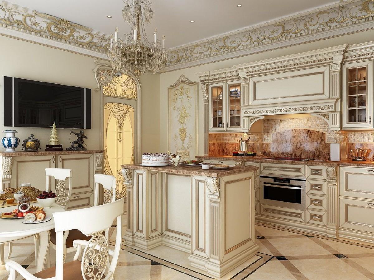 дизайн кухни гостиной в классическом стиле лепнина с позолотой