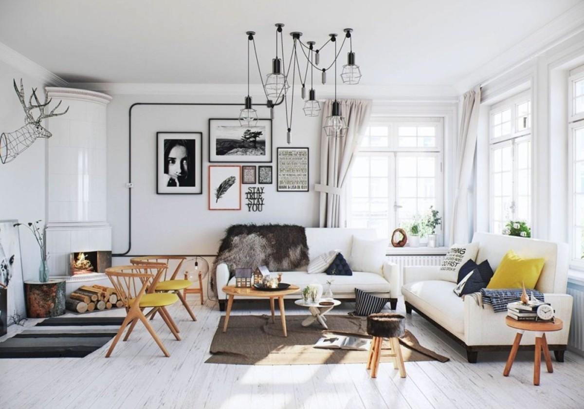 дом в скандинавском стиле дизайн белой гостиной